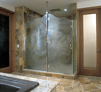 Frosted glass shower