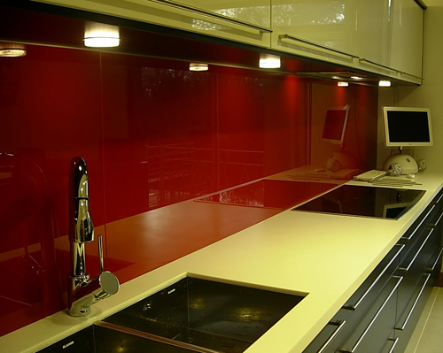 Red Glass back Splash minimalist kitchen design