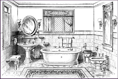 Victorian bathroom setting