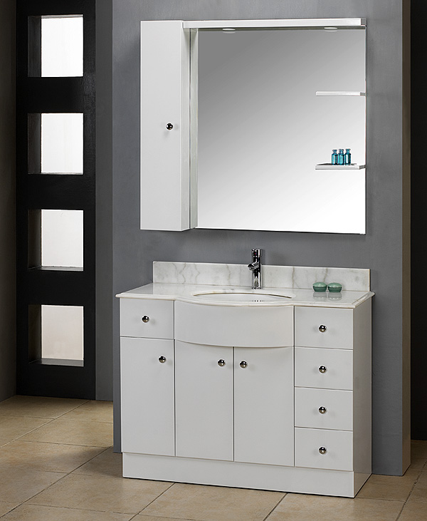 Artemide light. Wicklow European Style White Bathroom Vanity, BathGems. The doors ...